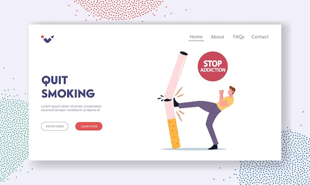 Stop unhealthy habit, smoking addiction landing page template. tiny male character kicking huge cigarette. man give up smoker lifestyle, nicotine and tobacco addict. cartoon vector illustration