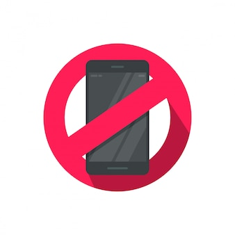 Stop using mobile phone or cellphone sign illustration