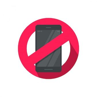 휴대 전화 또는 핸드폰 기호 그림 사용 중지