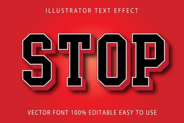 Stop vector editable text effect