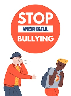 Stop verbal bullying poster or banner with school teenagers characters