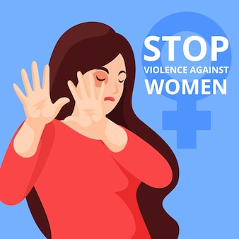 Stop violence against woman illustrated