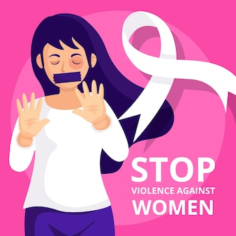 Stop violence against woman illustration