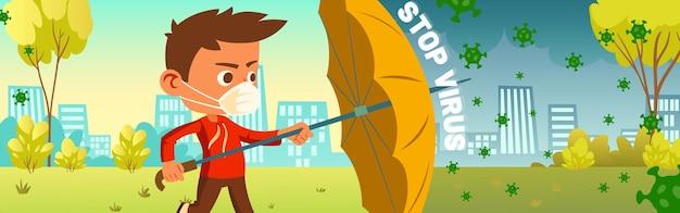 Covid로부터 보호하기 위해 우산을 들고 마스크에 소년과 바이러스 배너를 중지