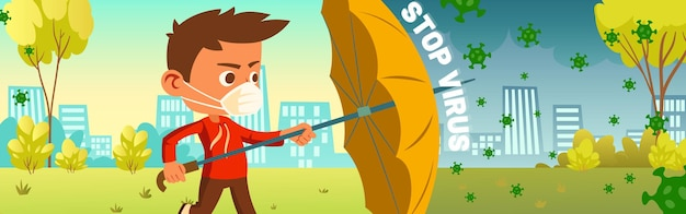 Stop virus banner with boy in mask holding umbrella for protects from covid