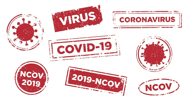 Stop virus infection text stamp template.