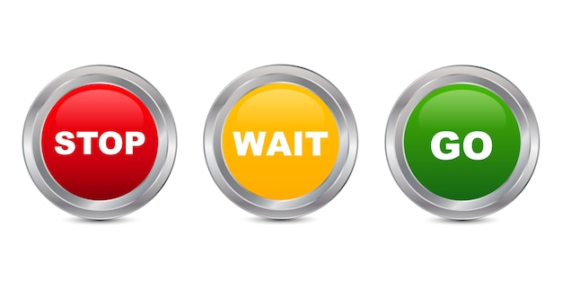 Stop wait go glossy button, vector illustration