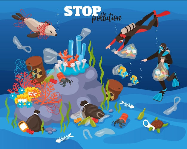 Stop water pollution underwater illustration with divers cleaning small trash from ocean bottom