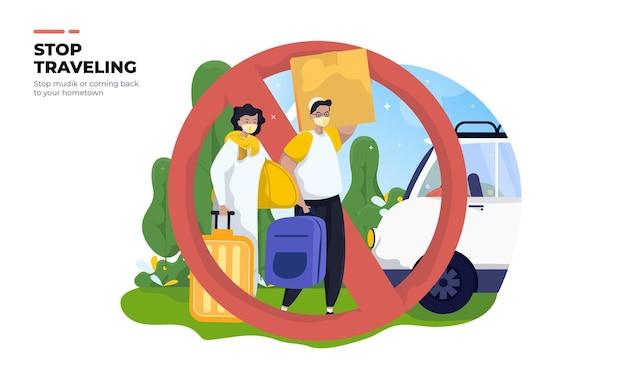 Stopping mudik or traveling illustration background concept Premium Vector