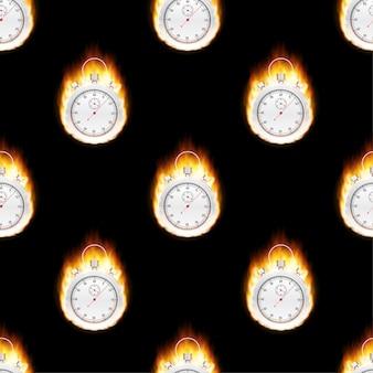 Концепция секундомера - более быстрый знак с рисунком огня. векторная иллюстрация штока.