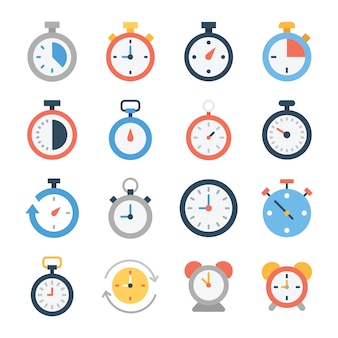 Stopwatch and digital clock icons