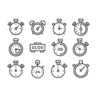 Stopwatch and digital clock line icons