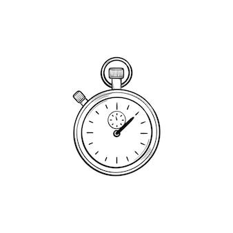 Секундомер рисованной наброски каракули значок. измерение времени, временной интервал и обратный отсчет, концепция крайнего срока