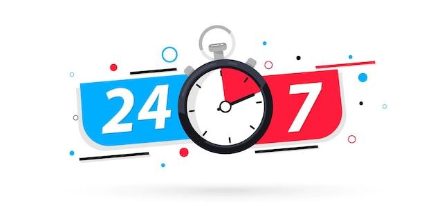 Значок секундомера, круглосуточное обслуживание. 24-7 открытая концепция векторные иллюстрации. значок круглосуточного обслуживания, работающего без выходных. 24 часа в сутки 7 дней в неделю. служба поддержки векторные иллюстрации и запасов. 24 часа открыто