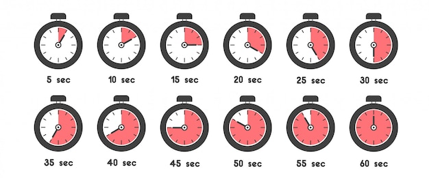 Stopwatch icon set with different time. sport clock with red colored time meaning
