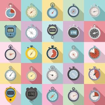 Набор иконок секундомера плоский вектор. минутный таймер. часы секундомер
