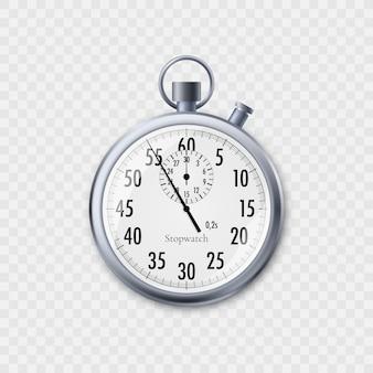 Секундомер в реалистичном стиле. классический металлический секундомер. иллюстрация