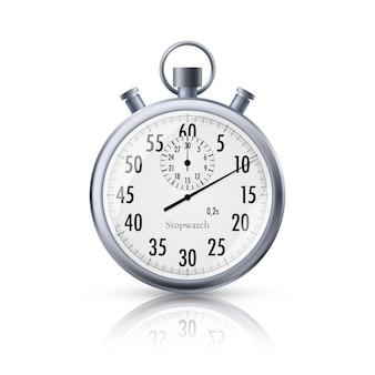 Секундомер в реалистичном стиле. классический металлический секундомер с отражением. иллюстрация