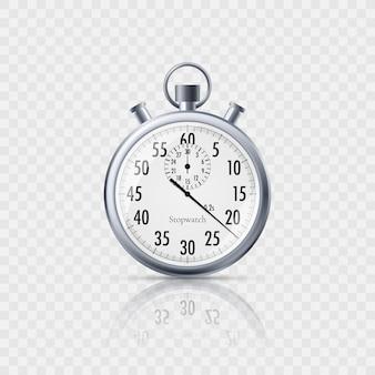 Секундомер в реалистичном стиле с отражением на прозрачном фоне. классический металлический секундомер.