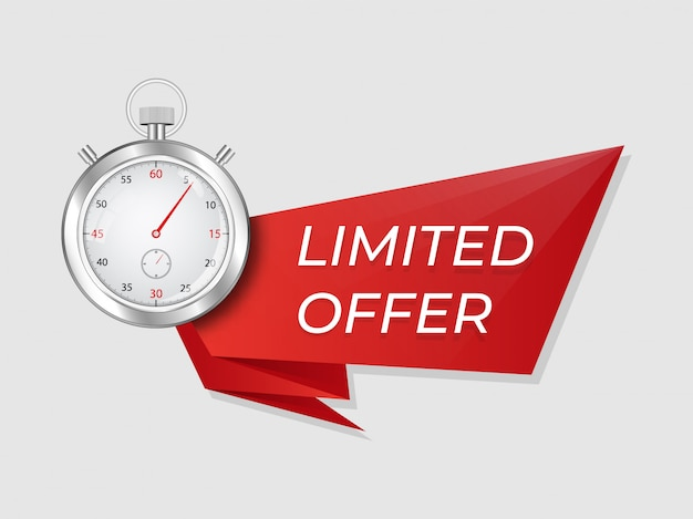 스톱워치 제한 제공. 창의적인 특가 광고에 대 한 시계 기호 배너와 빨간 리본 템플릿.