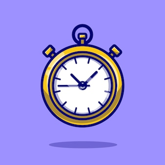 Stopwatch timer cartoon icon illustration.