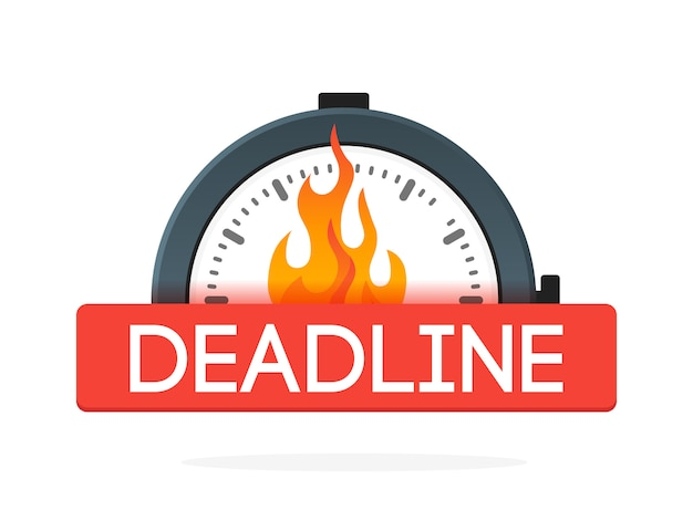 Stopwatch with fire flame badge. deadline concept. icon