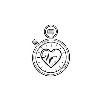 Секундомер с символом сердца рисованной наброски каракули значок. точные часы, время и спортивная концепция здоровья