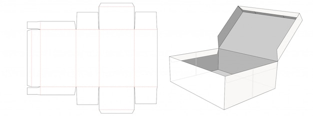 Storage box  with lid die cut template design