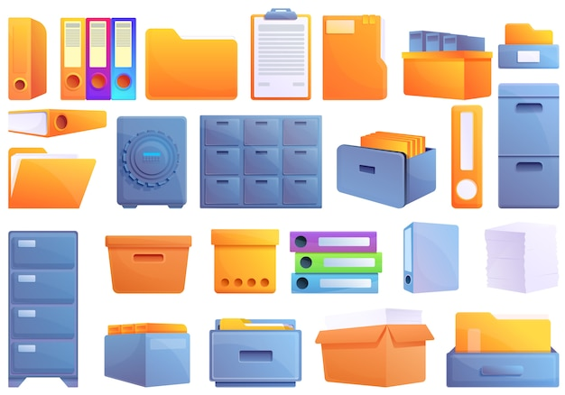 Storage of documents icons set, cartoon style