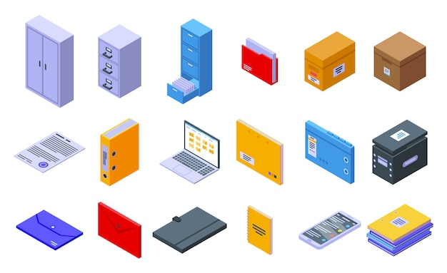 Storage of documents icons set, isometric style