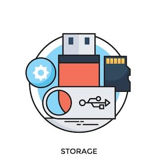 Storage flat vector icon