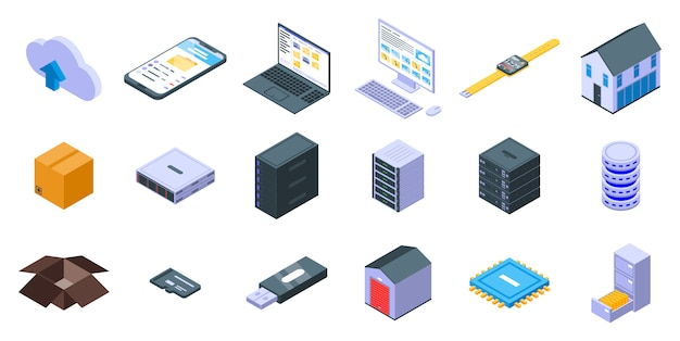 Storage icons set