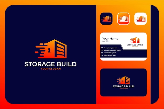 Storage key speed building logo design and business card
