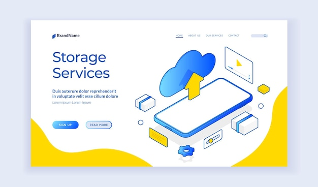 Storage services. isometric vector web template of cloud storage and mobile phone. digital service or app with data transfering advertising. isometric web banner, landing page template