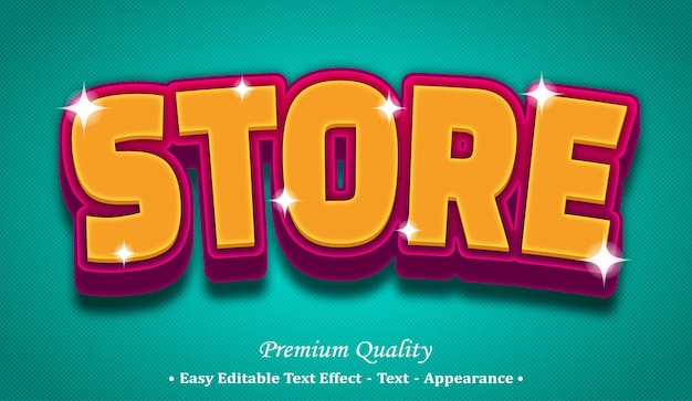Store 3d editable text style effect