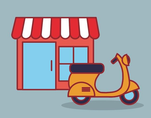 店舗とバイクのアイコン