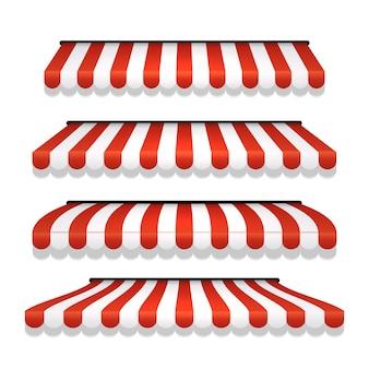 Магазин тентовый магазин навес. магазин палатки вид спереди красной полосатой крышей. ресторан, продуктовый магазин или кафе тент уличный зонт.