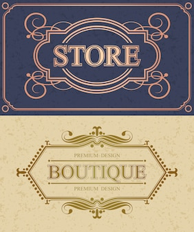 Store and boutique calligraphic border, retro store flourish calligraphy monogram,