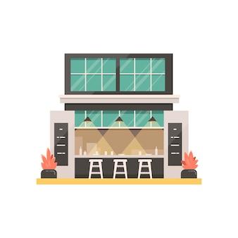 Иллюстрация здания магазина. экстерьер кафе, ресторан или кафе, рынок.