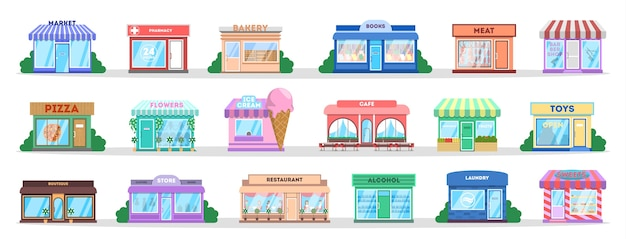 Store building set. collection of public city objects. bakery and candy shop, cafe and restaurant. shop exterior. isolated flat vector illustration