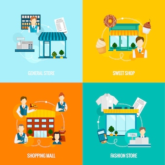 Store buildings flat elements composition set with sweet fashion general shop mall vector illustration