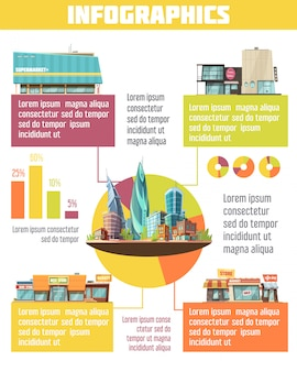Store buildings infographic set with supermarket symbols cartoon vector illustration