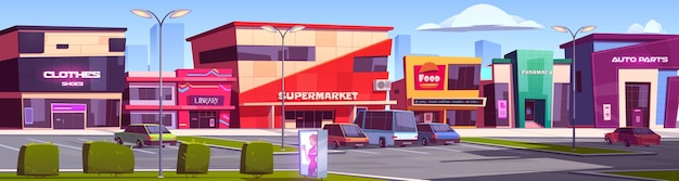 Store buildings, shopping area with parking scene illustration