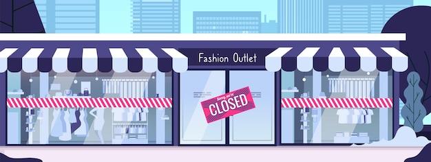 매장 폐쇄. 금융 위기, 전염병 파산 또는 비즈니스 문제. 거리, 현대 도시 풍경 벡터 일러스트 레이 션에 건물 패션 매장. 비즈니스 파산 및 폐쇄 간판