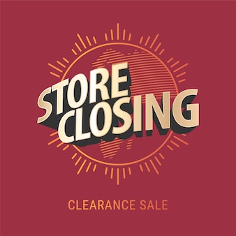 Store closing  banner, illustration