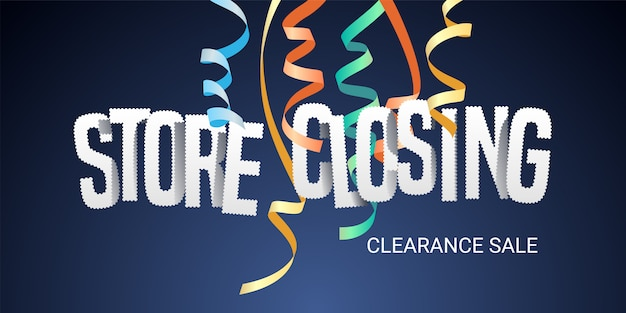Store closing sale, banner