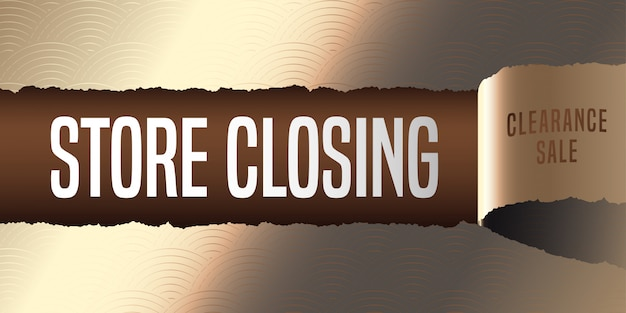 Store closing vector banner, illustration