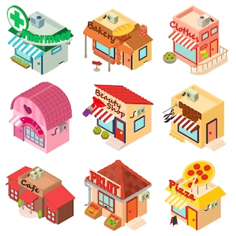 Store facade front shop icons set. isometric illustration of 9 store facade front shop vector icons for web