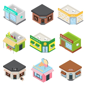 Store facade front shop icons set