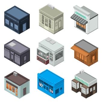 Магазин фасадов значок набор. изометрические набор магазина фасадных векторных иконок для веб-дизайна на белом фоне